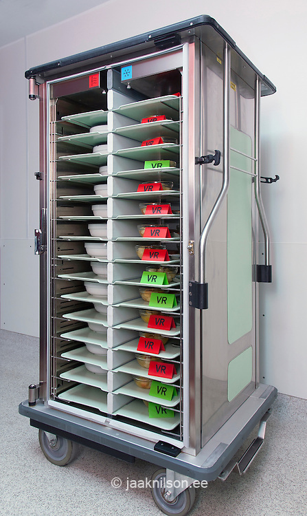 hot trolley with racks of meals