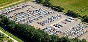 Nederland, Noord-Brabant, Eindhoven, 23-08-2016; DAF Truckfabriek, producent van bedrijfswagens, onderdeel van Paccar. Opslagterrein.<br /> DAF Truck Factory, manufacturer of trucks, a division of Paccar.<br /> luchtfoto (toeslag op standard tarieven);<br /> aerial photo (additional fee required);<br /> copyright foto/photo Siebe Swart