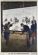 French soldiers using film of a cavalry charge for rifle practice. 1912. From 'Le Petit Journal', (Paris, 30 June 1912). Halftone.
