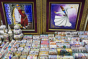 Traditional Turkish paintings hand-painted ceramics in The Grand Bazaar, Kapalicarsi, great market, Beyazi, Istanbul, Turkey