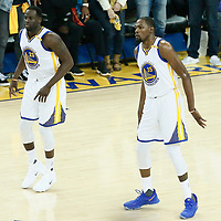 04 June 2017: Golden State Warriors forward Draymond Green (23) is seen next to Golden State Warriors forward Kevin Durant (35) during the Golden State Warriors 132-113 victory over the Cleveland Cavaliers, in game 2 of the 2017 NBA Finals, at the Oracle Arena, Oakland, California, USA.