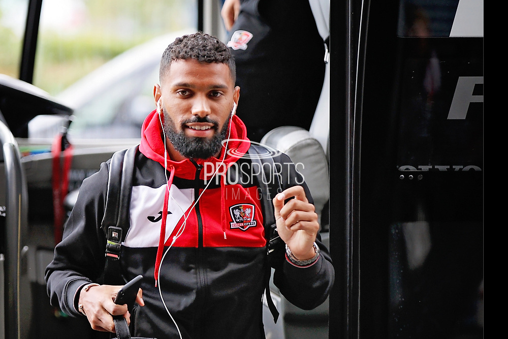 Exeter City defender Luke Croll (23) arriving at the stadium before the EFL Sky Bet League 2 match between Milton Keynes Dons and Exeter City at stadium:mk, Milton Keynes, England on 25 August 2018.