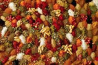 ca. 2001, Antalya, Turkey --- A display of dried spices: cinnamon, cumin, ginger, pepper, paprika, saffron, and marigold. --- Image by © Owen Franken/CORBIS