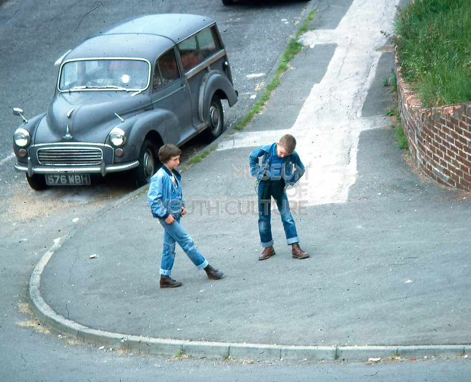 Gary and Neville on Hawthorne Road, High Wycombe, UK. 1980s.