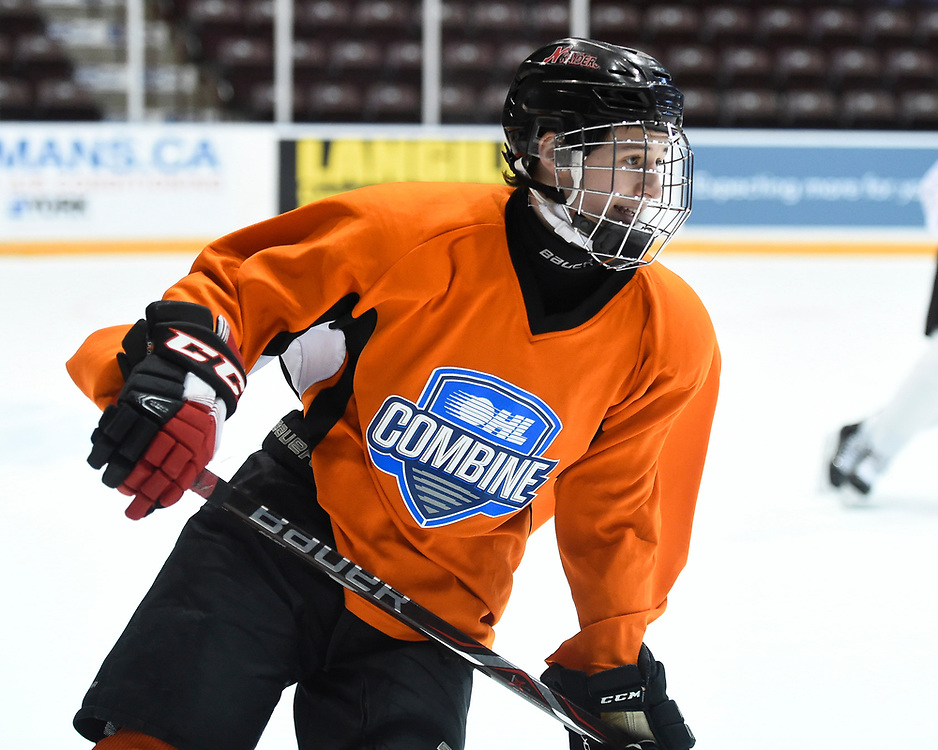 Jayden Baptiste of the Nepean Raiders at the 2018 OHL Development Combine at the Tribute Communities Centre in Oshawa on Sunday March 25, 2018. Photo by Aaron Bell/OHL Images