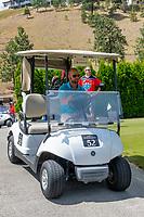 KELOWNA, CANADA - JULY 21: Alumni Tyler Mosienko drives a cart a the Kelowna Rockets Alumni golf tournament at Black Mountain Golf Club in Kelowna, British Columbia, Canada.  (Photo by Marissa Baecker/Shoot the Breeze)  *** Local Caption ***