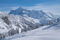 Mount Shuksan in winter, seen from Kulshan Ridge, Heather Meadows Reacreation Area, North Cascades Washington