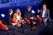NPO Opening televisieseizoen 2015-2016 in het JT Theater, Hilversum.<br /> <br /> Op de foto:  Arjen Lubach in gesprek met Lauren Verster , Matthijs van Nieuwkerk en Rick Nieman