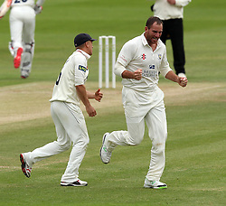 Durham's John Hastings celebrates taking his fifth wicket, that of Middlesex's Steven Finn - Photo mandatory by-line: Robbie Stephenson/JMP - Mobile: 07966 386802 - 04/05/2015 - SPORT - Football - London - Lords  - Middlesex CCC v Durham CCC - County Championship Division One