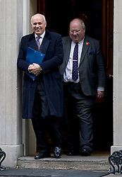 © London News Pictures. 30/10/2012. London, UK.       Secretary of State for Work and Pensions Ian Duncan Smith (left) and  Secretary of State for Communities and Local Government Eric Pickles (right) Leaving 10 Downing street after a cabinet meeting on October 10, 2012. Photo credit: Ben Cawthra/LNP