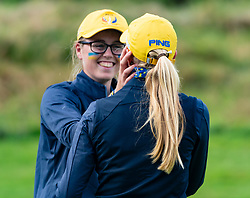 Auchterarder, Scotland, UK. 10 September 2019. Day one of the Junior Solheim Cup 2019 at the Centenary Course at Gleneagles. Tuesday Morning Foursomes. Pictured Hannah Darling and Annabell Fuller of Europe celebrate after winning 4&3. Iain Masterton/Alamy Live News