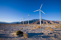A wind farm in the San Gorgonio Mountain Pass in Palm Springs California USA