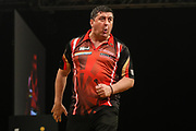Mensur Suljovic hits a double during the BWIN Grand Slam of Darts at Aldersley Leisure Village, Wolverhampton, United Kingdom on 18 November 2018.