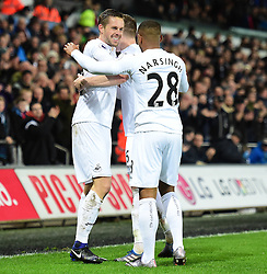 Gylfi Sigurdsson of Swansea City celebrates with Luciano Narsingh of Swansea City - Mandatory by-line: Alex James/JMP - 31/01/2017 - FOOTBALL - Liberty Stadium - Swansea, England - Swansea City v Southampton - Premier League