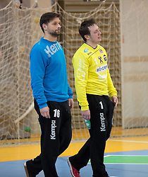 09.12.2014, Sporthalle, Leoben, AUT, OeHB-Cup Achtelfinale, Union JURI Leoben vs SG INSIGNIS Handball West Wien, im Bild Wolfgang Filzwieser (Leoben), Thomas Hurich (Leoben) // durning the OeHB-Cup, Round of the last sixteen, between, Union JURI Leoben vs SG INSIGNIS Handball West Wien at the Sport Hall, Leoben, Austria on 2014/12/09, EXPA Pictures © 2014, PhotoCredit: EXPA/ Dominik Angerer