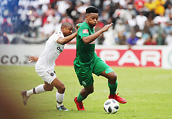 15042018 (Durban) Butholezwe Ncube and Thabo Qalinge when Pirates came from behind to grab a 2-1 win over AmaZulu to keep their title hopes alive in the Absa Premiership at King Zwelithini Stadium yesterday in Durban<br /> Picture: Motshwari Mofokeng/ANA