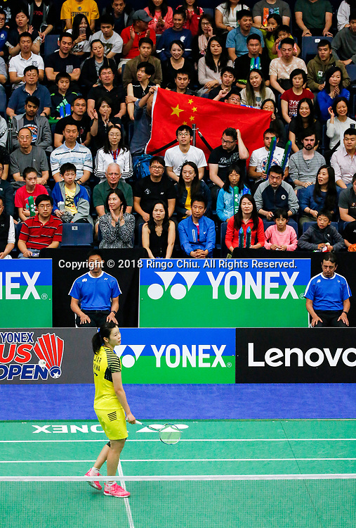 China's Li Xuerui claims title of U.S. Open Badminton Championships women's singles <br /> <br /> Fans of China show a Chiese flag during the women's singles final match between Li Xuerui of China, and Beiwen Zhang of USA, at the U.S. Open Badminton Championships in Los Angeles, the United State on June 17, 2018. Li won 2-1. (Xinhua/Zhao Hanrong)<br /> (Photo by Ringo Chiu)<br /> <br /> Usage Notes: This content is intended for editorial use only. For other uses, additional clearances may be required.