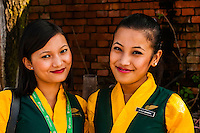Yeti Airlines flight attendants, Kathmandu airport, Kathmandu, Nepal.