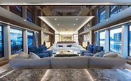 An interior shot of the Sunseeker 131 at the London Boat Show 2016, the largest vessel ever to attend the show.<br /> Picture date: Friday January 8, 2016.<br /> Photograph by Christopher Ison &copy;<br /> 07544044177<br /> chris@christopherison.com<br /> www.christopherison.com