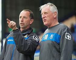 BIRKENHEAD, ENGLAND - Saturday, April 21, 2012: Tranmere Rovers' manager Ronnie Moore and assistant manager Kevin Summerfield during the Football League One match against Hartlepool United at Prenton Park. (Pic by David Rawcliffe/Propaganda)