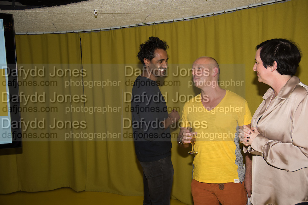 ROHAN SILVA; STEVE HILTON; , Launch of ' More Human',  Designing a World Where People Come First' by Steve Hilton. Party held at Second Home in Princelet St, off Brick Lane, London. 19 May 2015.