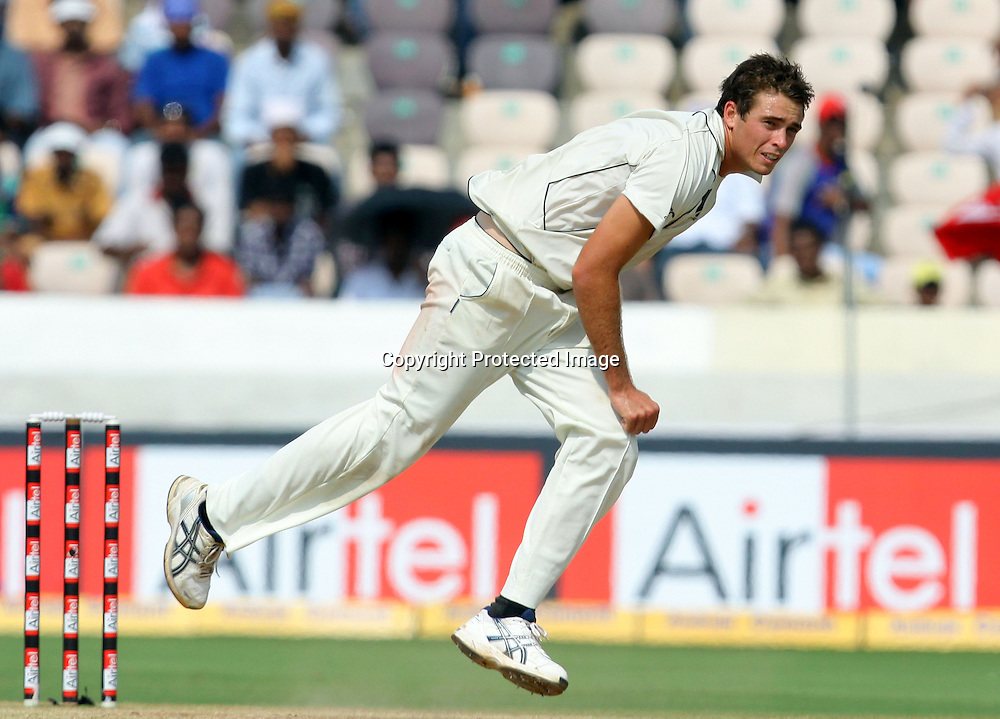 New Zealand bowler Tim Southee in bowling action against india during the 3rd day of the 2nd test match India vs New Zealand Played at Rajiv Gandhi International Stadium, Uppal, Hyderabad 14, November 2010 (5-day match)