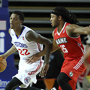 Delaware 87ers Guard Jamal Jones (22) dribbles the ball past Maine Red Claws Guard Sherwood Brown (15) in the first half of a NBA D-league regular season basketball game between the Delaware 87ers and the Maine Red Claws (Boston Celtics) Friday, Dec. 12, 2014 at The Bob Carpenter Sports Convocation Center in Newark, DEL