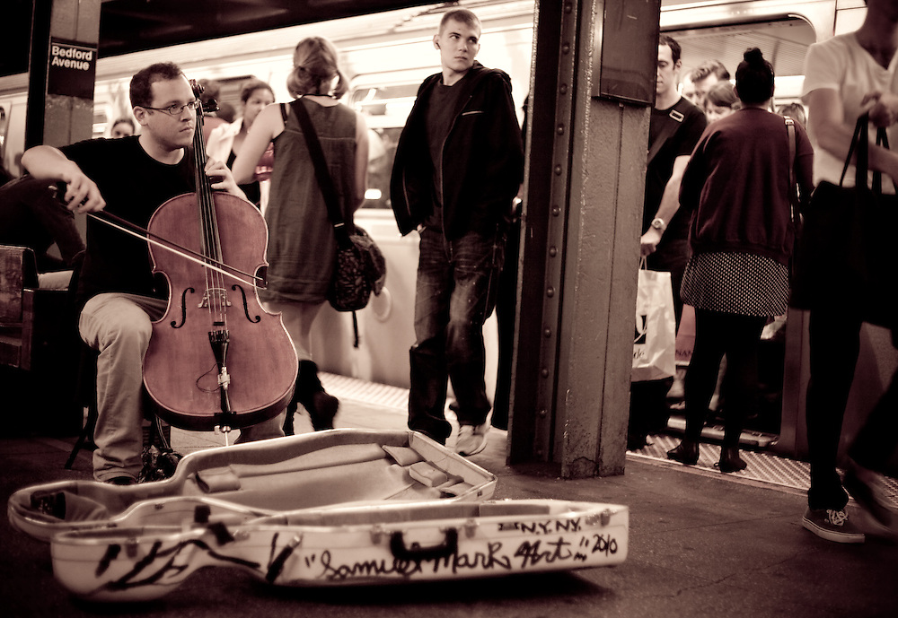 Jacob Cohen with Cello at Bedford Avenue<br /> <br /> September 2011