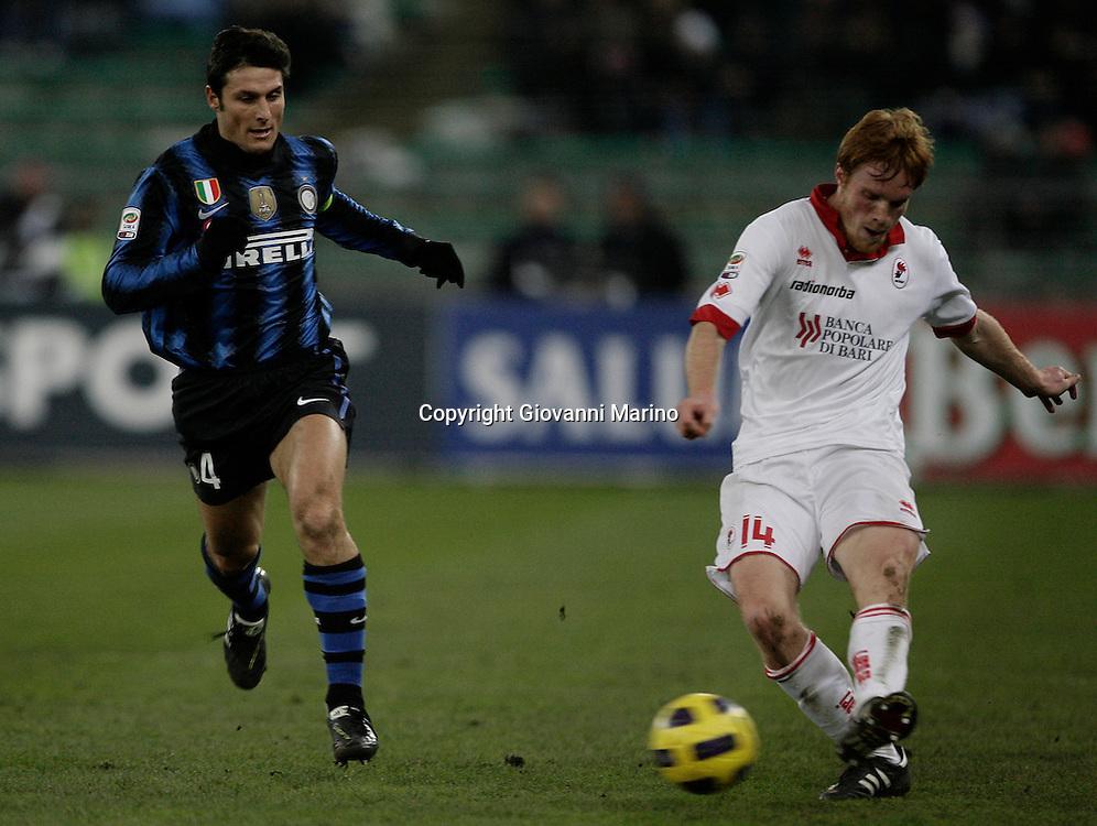 Bari (BA), 03-02-2011 ITALY - Italian Soccer Championship Day 23 - Bari VS Inter..Pictured: Zanetti (I) Gazzi (B).Photo by Giovanni Marino/OTNPhotos . Obligatory Credit