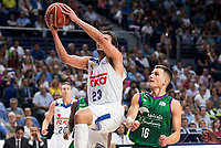 Real Madrid's player Sergio Llull and Unicaja Malaga's player Nemanja Nedovic during match of Liga Endesa at Barclaycard Center in Madrid. September 30, Spain. 2016. (ALTERPHOTOS/BorjaB.Hojas)
