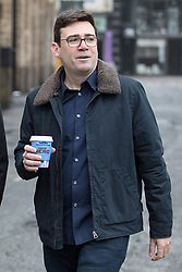"""© Licensed to London News Pictures. Manchester , UK . FILE PICTURE DATED 07/01/2017 of ANDY BURNHAM carrying Caffe Nero coffee when arriving for a campaign launch event for Andy Burnham's candidacy of Mayor of Greater Manchester, at the Mechanics' Institute in Manchester. Mr Burnham wrote on twitter """" Bit bizarre hearing these right-wing calls for a 'Barista Visa'. God forbid the idea of waiting longer in the morning for their posh coffee """". Photo credit: Joel Goodman/LNP"""