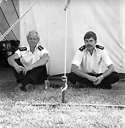 Security sitting down backstage, Glastonbury, Somerset, 1989