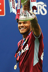 May 27, 2019 - London, England, United Kingdom - Tyrone Mings (40) of Aston Villa holds the play off trophy following his sides win during the Sky Bet Championship Play Off Final between Aston Villa and Derby County at Wembley Stadium, London on Monday 27th May 2019. (Credit Image: © Mi News/NurPhoto via ZUMA Press)