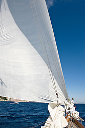 The building of Moonbeam IV was started in 1914 for Charles Plumtre Johnson.  She then went on to win the Kings' Cup in 1920 and 1923 that was held on the Tuesday of Cowes Week every year. In 1995 she was found by her present owners in Greece, who fell in love with the vessel and planned out the impending restoration.  With her return to the seas Moonbeam is used for chartering and is a regular on the Mediterranean regatta circuit competing with her older sister, Moonbeam III.  More about Moonbeam IV on www.moonbeam4.com