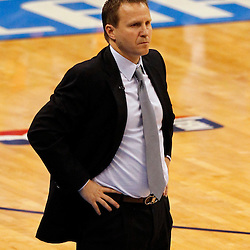 Jun 14, 2012; Oklahoma City, OK, USA;  Oklahoma City Thunder head coach Scott Brooks reacts during the first quarter of game two in the 2012 NBA Finals against the Miami Heat at Chesapeake Energy Arena. Mandatory Credit: Derick E. Hingle-US PRESSWIRE