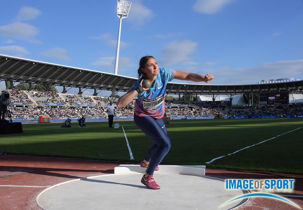 Jul 1, 2017; Paris, France; Aliona Dubitskaya (BLR) places fourth in the women's shot puta 59-9¾ (18.23); during the Meeting de Paris in an IAAF Diamond League meet at Stade Charlety.
