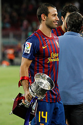 17.08.2011, Camp Nou, Barcelona, ESP, Supercup 2011, FC Barcelona vs Real Madrid, im Bild FC Barcelona's Javier Mascherano celebrate the victory during Spanish Supercup 2nd match.August 17,2011. EXPA Pictures © 2011, PhotoCredit: EXPA/ Alterphotos/ Acero +++++ ATTENTION - OUT OF SPAIN / ESP +++++