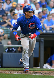 June 13, 2018 - Milwaukee, WI, U.S. - MILWAUKEE, WI - JUNE 13: Chicago Cubs Second base Javier Baez (9) runs to 1st during a MLB game between the Milwaukee Brewers and Chicago Cubs on June 13, 2018 at Miller Park in Milwaukee, WI. The Brewers defeated the Cubs 1-0.(Photo by Nick Wosika/Icon Sportswire) (Credit Image: © Nick Wosika/Icon SMI via ZUMA Press)