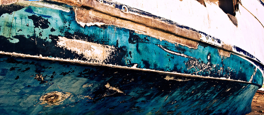 Detail of the hull of a shipwreck on the beach of Little Corn Island, Nicaragua.