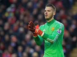 LIVERPOOL, ENGLAND - Sunday, January 17, 2016: Manchester United's goalkeeper David de Gea in action against Liverpool during the Premier League match at Anfield. (Pic by David Rawcliffe/Propaganda)