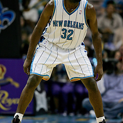 Jan 18, 2010; New Orleans, LA, USA; New Orleans Hornets forward Julian Wright (32) on the court against the San Antonio Spurs at the New Orleans Arena. The Spurs defeated the Hornets 97-90. Mandatory Credit: Derick E. Hingle-US PRESSWIRE