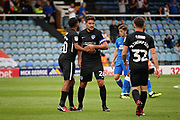 Portsmouth midfielder Gareth Evans (26) celebrates after the EFL Sky Bet League 1 match between Peterborough United and Portsmouth at London Road, Peterborough, England on 15 September 2018.