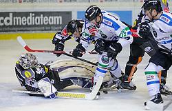 26.10.2015, Messestadion, Dornbirn, AUT, EBEL, Dornbirner Eishockey Club vs HDD Telemach Olimpija Ljubljana, 16. Runde, im Bild v.l. Florian Hardy, (Dornbirner Eishockey Club, #49), Dustin Sylvester, (Dornbirner Eishockey Club, #19)und Anze Ropret, (HDD Telemach Olimpija Ljubljana, #29)// during the Erste Bank Icehockey League 16th round match between Dornbirner Eishockey Club and HDD Telemach Olimpija Ljubljana at the Messestadion in Dornbirn, Austria on 2015/10/26, EXPA Pictures © 2015, PhotoCredit: EXPA/ Peter Rinderer