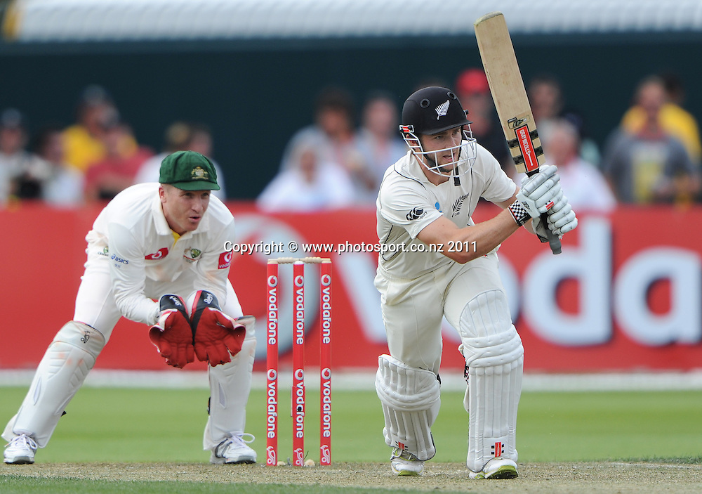 New Zealand's Kane Williamson batting on Day 2 of the second cricket test between Australia and New Zealand Black Caps at Bellerive Oval in Hobart, Saturday 10 December 2011. Photo: Andrew Cornaga/Photosport.co.nz