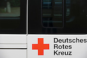 Deutsches Rotes Kreuz - DRK (German Red Cross) vehicle logos at their administrative HQ, 58 Carstennstrasse, Berlin.