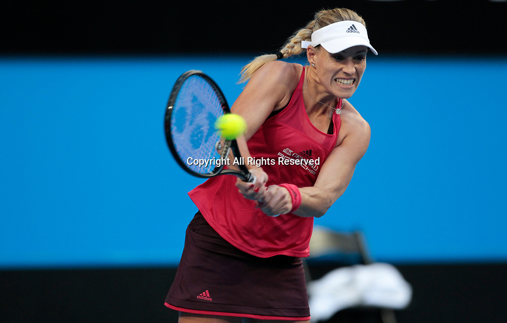 6th January 2018, Perth Arena, Perth, Australia; MasterCard Hopman Cup Tennis Final; Angelique Kerber of Team Germany plays a backhand shot against Belinda Bencic of Team Switzerland during the first set of the Final