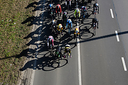 Peloton pass underneath at Le Samyn des Dames 2018 - a 103 km road race on February 27, 2018, from Quaregnon to Dour, Belgium. (Photo by Sean Robinson/Velofocus.com)