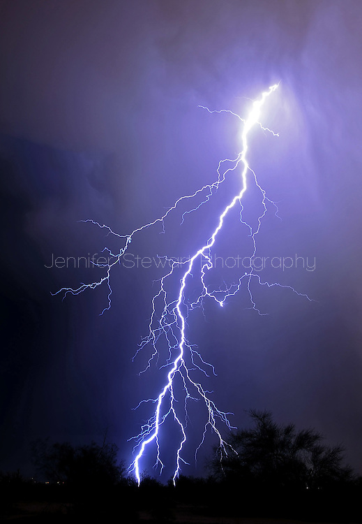 Phoenix, AZ, USA; Lightning strikes in the desert. Mandatory Credit: Jennifer Stewart