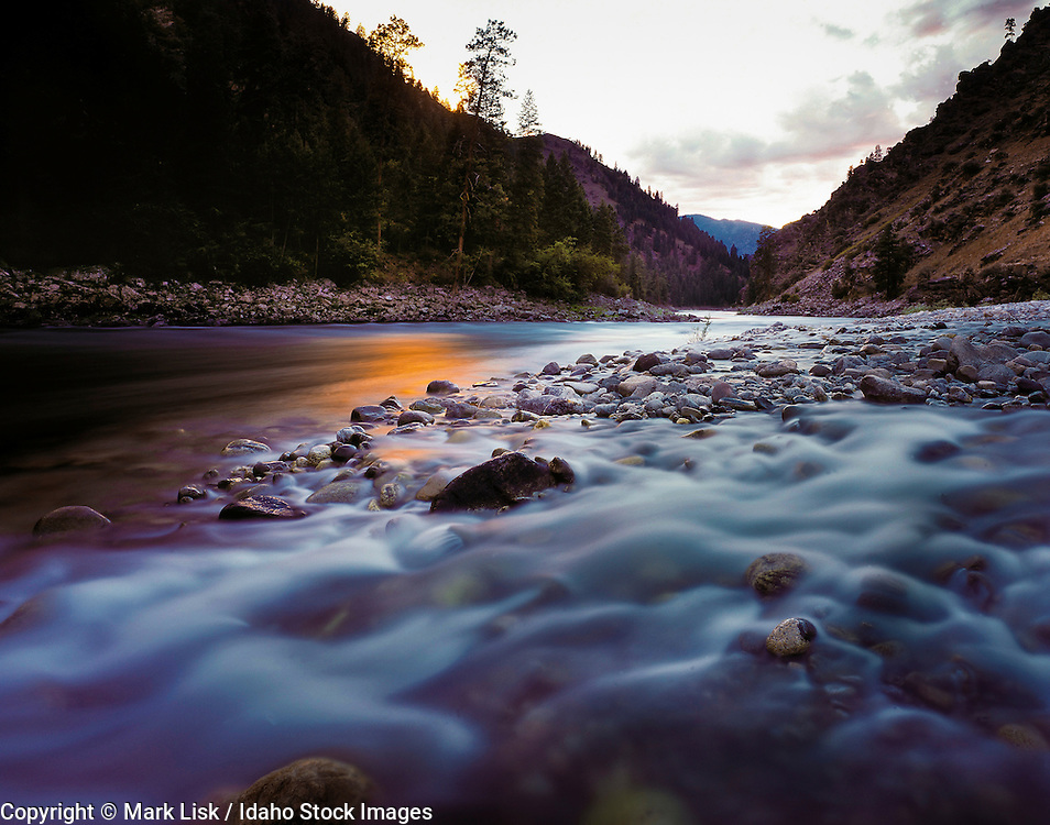 Idaho. Horse Creek flows over rounded rocks at its confluence with the Salmon River