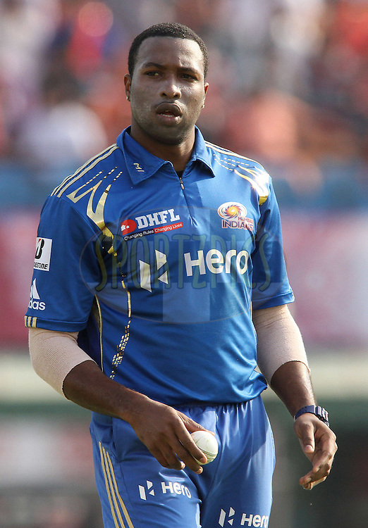 Kieron Pollard of the Mumbai Indians during match 33 of the the Indian Premier League (IPL) 2012  between The Kings X1 Punjab and The Mumbai Indians held at the Punjab Cricket Association Stadium, Mohali on the 25th April 2012..Photo by Shaun Roy/IPL/SPORTZPICS